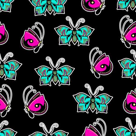 Nahtloses Muster der abstrakten Schmetterlinge, Handzeichnung, Textildruck, Vektorillustration. Gemustertes buntes helles Insekt mit Flügeln und weißem Anschlag auf schwarzem Hintergrund. Für Stoffdesign, Tapeten