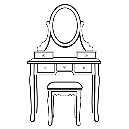 Dressing table with mirror, female boudoir for applying makeup, coloring, sketch, contour black and white drawing, vector illustration. Table with shelves and mirror with light bulbs and chair in room Иллюстрация