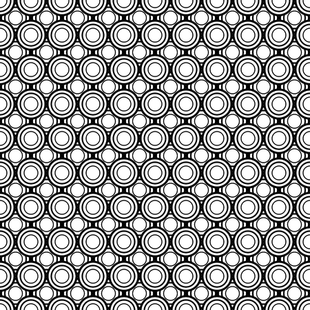 Abstract circles, geometric seamless pattern, round tile, black and white illustration, geometry ball texture, monochrome ornament, vector background. Wallpaper, fabric design, textile print