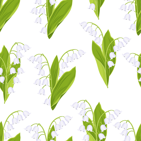 Lily of the valley floral seamless pattern, vector illustration. White buds forest flowers bluebells, green stalk and leaves isolated on white background. For fabric design, print, textile, wallpaper
