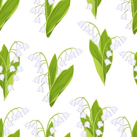 Maiglöckchen nahtlose Blümchenmuster, Vektor-Illustration. Weiße Knospen Waldblumen Glockenblumen, grüner Stiel und Blätter auf weißem Hintergrund. Für Stoffdesign, Druck, Textil, Tapete