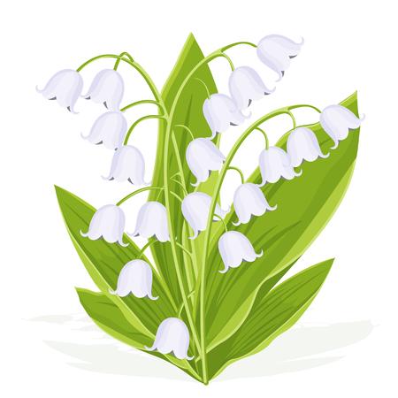 Lirio de los valles, ramo de primavera de delicadas flores, ilustración vectorial. Capullos blancos flores del bosque campanillas, tallos verdes y hojas aisladas sobre fondo blanco, dibujo plano realista botánico Ilustración de vector