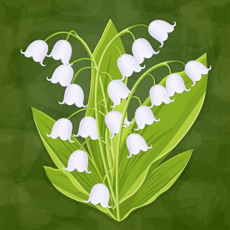 Maiglöckchen, Frühlingsstrauß zarter Blumen, Vektorillustration. Weiße Knospenwaldblumen Glockenblumen, Stiele und Blätter einzeln auf grünem strukturellem künstlerischem Hintergrund, Karte, Gestaltungselement