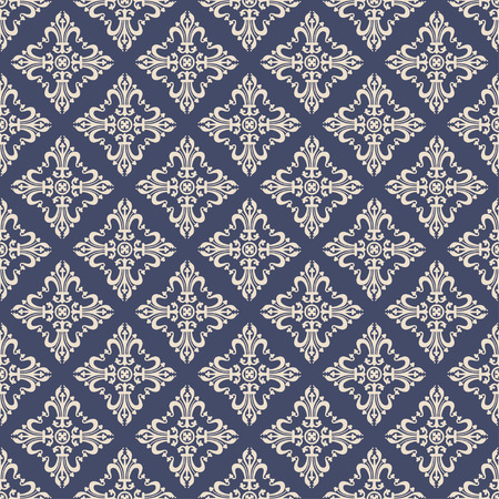 Vintage baroque ornament, damask floral seamless pattern, vector illustration. Beige oriental tracery on navy blue background, retro antique rococo romantic decoration for fabric design, wallpaper