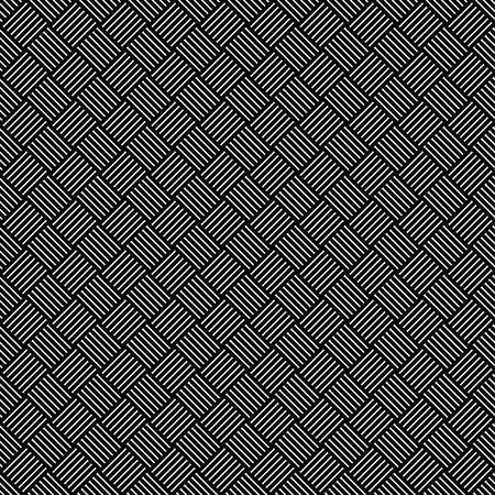 Geometric seamless pattern with black and white cross lines, monochrome braided ornament, classical hatching, graphic texture. Decorative strokes background, linear surface. Vector illustration Ilustración de vector