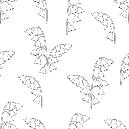 Lily of the valley floral seamless pattern, black and white drawing, coloring, vector illustration. Outline buds flowers bluebells, stalk and leaves isolated on white background. For fabric design