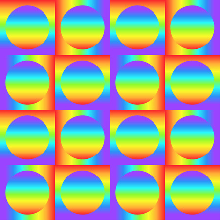 Geometric seamless pattern with multicolored gradient squares and circles, rainbow color abstract ornament, prism graphic texture. Decorative geometry background, colorful surface. Vector illustration Illusztráció