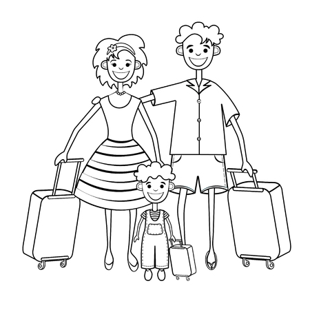Family goes on vacation, coloring, silhouette, black and white linear drawing. Outline father, mother and child with suitcase trip travel holiday, isolated on white background. Vector illustration