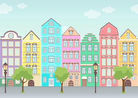 Street with colorful houses, trees and lanterns, seamless border, urban landscape, old city background. Multicolored European houses in row with blue sky and clouds, flat drawing, vector illustration