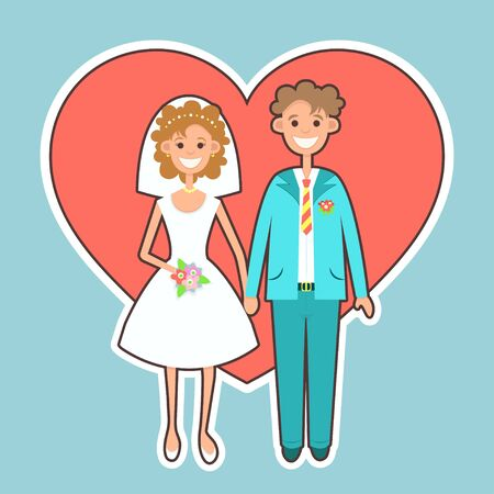 Bride and groom sticker, icon, flat drawing, cartoon character, vector illustration. Picture newlyweds, woman in white wedding dress with bouquet and man in suit isolated on the background of heart