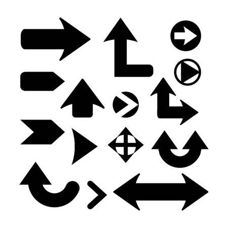 Satz von Vektorpfeilen, Pfeilsymbol, Zeigerzeichen, Symbol, Indikator. Sammlung verschiedener massiver, breiter Pfeile isoliert auf weißem Hintergrund Vektorgrafik