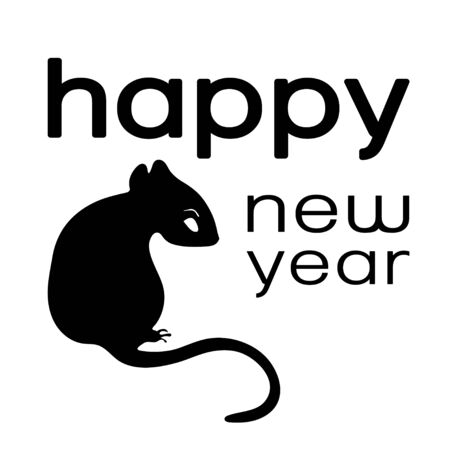 Happy New Year logo, card , 2020 icon, symbol of the year according to the eastern Chinese calendar, monochrome banner, vector illustration. Black rat sits and text isolated on white background