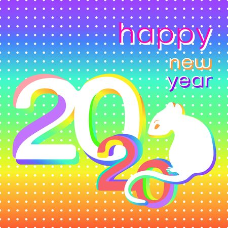 Happy New Year creative card, bright colorful banner, 2020 logo, icon, vector illustration. White rat, symbol of the year, sitting colorful numbers 2020 on multicolor background with white spots