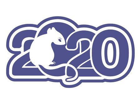 2020 logo, icon, White Metal Rat is a symbol of the 2020 Chinese New Year, greeting holiday card, banner, vector illustration. Blue silhouette zodiac sign rat and numbers isolated on white background Ilustração