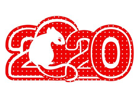 2020 logo, icon, White Metal Rat is a symbol of the 2020 Chinese New Year, card, banner, vector illustration. Red silhouette zodiac sign and numbers patterned speckled isolated on white background