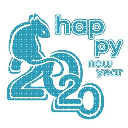 Happy New Year logo, 2020 icon, symbol of the year according to the eastern Chinese calendar, banner, vector illustration. Blue rat sits on numbers 2020 textured white dots isolated on white background Ilustração