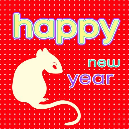 Happy New Year card , logo, 2020 icon, symbol of the year according to the eastern Chinese calendar, banner, vector illustration. White rat sits on figures, isolated on red speckled background