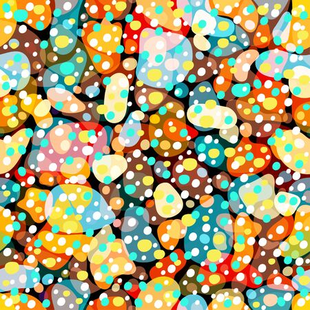 Rainbow multicolor abstract spotted seamless pattern, background from geometrical figures. Colorful bright texture of various shapes for creative fabric design, wallpaper, prints. Vector illustration