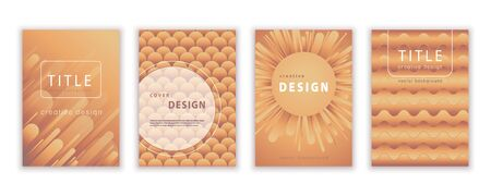 Set template for cover design, vector abstract background. Modern pattern in soft gradient shapes composition brown-yellow-orange colors for creating flyers, banners, posters, card Illusztráció