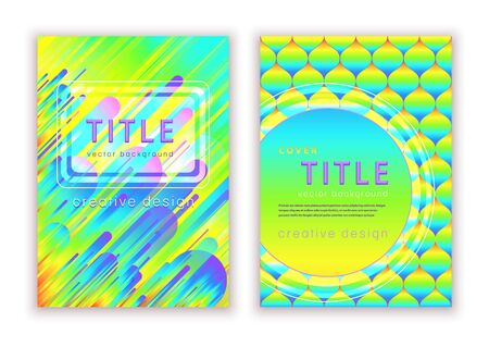 Set colorful template for cover design, vector abstract background. Multicolor rainbow very bright modern pattern in prism gradient shapes composition for creating flyers, banners, posters, card Illusztráció