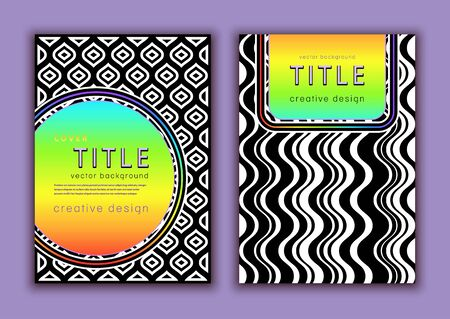 Set template for cover design, vector abstract background. Multicolor rainbow bright colorful label and black and white shapes composition pattern for creating flyers, banners, posters, card Illusztráció