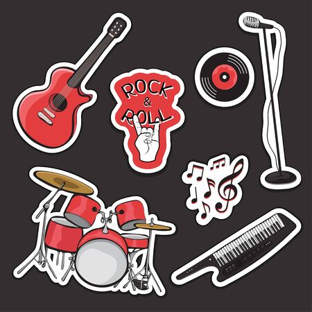 Set sticker of musical instruments, outline cartoon hand drawing, rock and roll vintage icon. Black red drum kit, synthesizer, guitar, microphone isolated on dark background. Vector illustration