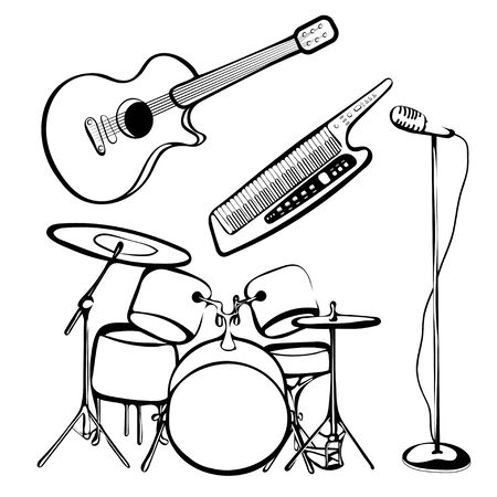 Set of musical instruments, outline hand drawing, black and white sketch, rock and roll icon, silhouette. Drum kit, synthesizer, guitar, microphone isolated on white background. Vector illustration Illustration