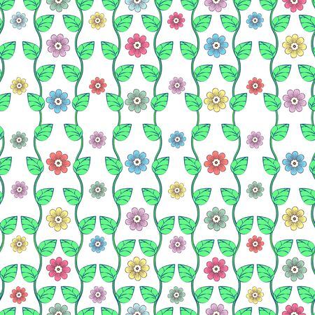 Green leaves on wavy stems and multi-colored flower buds with petals on white background seamless pattern, cartoon drawing. Natural, floral, fabric, textile, wallpaper design. Vector illustration 向量圖像