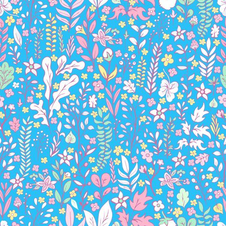 Colorful floral seamless pattern, doodle cartoon drawn flowers, exotic natural background, hand drawing. Multi-colored plant branches, buds, petals and leaves on blue backdrop. Vector illustration 向量圖像