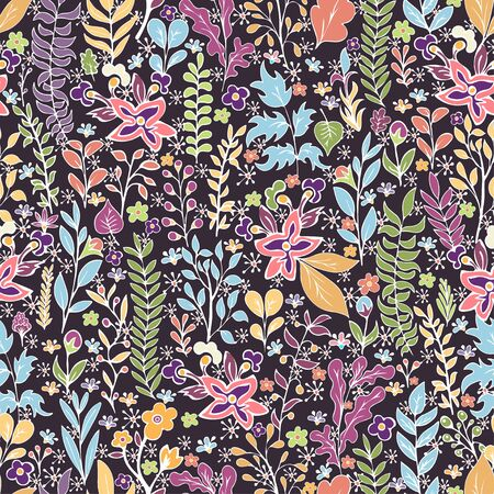 Colorful floral seamless pattern, doodle cartoon bright neon flowers, natural background, hand drawing. Multi-colored plant branches, buds, petals and leaves on dark backdrop. Vector illustration 向量圖像