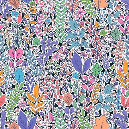 Colorful floral seamless pattern, doodle cartoon bright neon flowers, natural background, hand drawing. Multi-colored plant branches, buds, petals and leaves on dark backdrop. Vector illustration Illustration