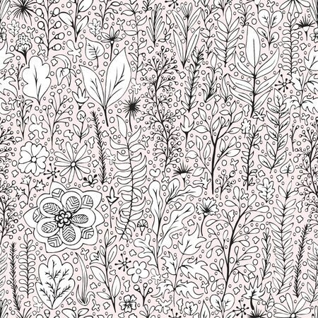 Black and white floral seamless pattern, doodle cartoon drawn flowers, exotic natural background, hand drawing. Outline plant branches, buds, petals and leaves on pink backdrop. Vector illustration