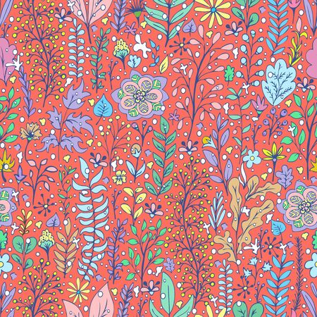 Colorful floral seamless pattern, doodle cartoon drawn flowers, exotic natural background, hand drawing. Multi-colored plant branches, buds, petals and leaves on red backdrop. Vector illustration 矢量图像