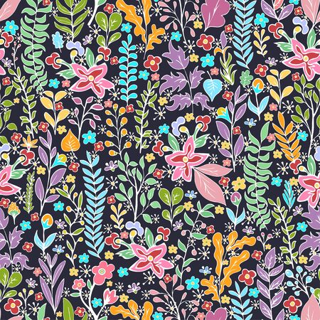 Colorful floral seamless pattern, doodle cartoon bright neon flowers, natural background, hand drawing. Multi-colored plant branches, buds, petals and leaves on dark backdrop. Vector illustration 矢量图像