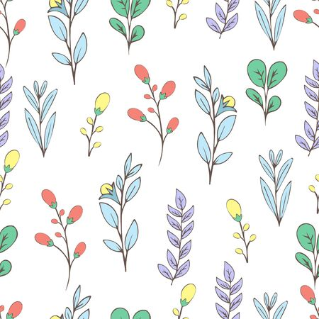 Colorful floral seamless pattern, doodle cartoon flowers, natural background, hand drawing. Multi-colored plant branches, buds, petals and leaves on white backdrop. Vector illustration