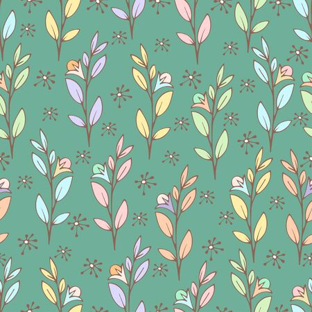 Colorful floral seamless pattern, doodle cartoon flowers, natural background, hand drawing. Multi-colored plant branches, buds, petals and leaves on pastel green backdrop. Vector illustration 矢量图像
