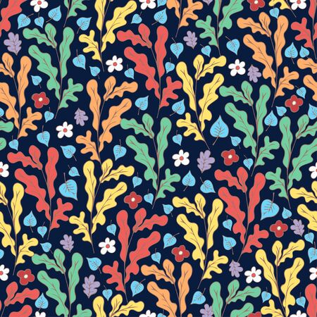 Colorful floral seamless pattern, doodle cartoon flowers and tree leaves, natural background, hand drawing. Multi-colored plant branches, buds and petals on dark blue backdrop. Vector illustration 矢量图像