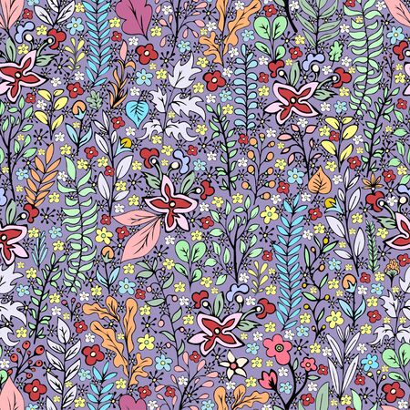 Colorful floral seamless pattern, doodle cartoon drawn flowers, exotic natural background, hand drawing. Multi-colored plant branches, buds, petals and leaves on purple backdrop. Vector illustration