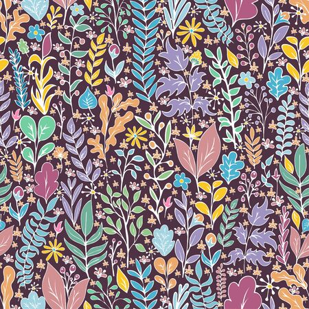 Colorful floral seamless pattern, doodle cartoon drawn flowers, exotic natural background, hand drawing. Multi-colored plant branches, buds, petals and leaves on dark backdrop. Vector illustration