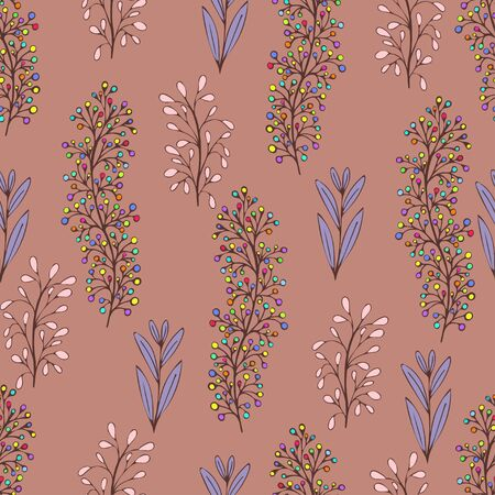 Colorful floral seamless pattern, doodle cartoon drawn flowers, exotic natural background, hand drawing. Multi-colored plant branches, buds and leaves on brown beige backdrop. Vector illustration 矢量图像