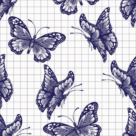 Ink butterflies seamless pattern, doodle insect, painted purple inky graphic sketch. Hand drawing ballpoint pen drawn in checkered notebook, stylized background. Vector illustration