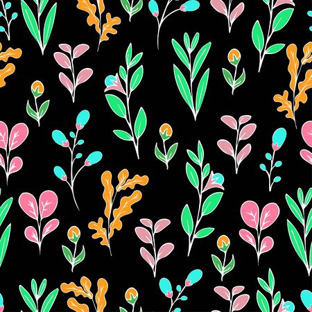 Colorful floral seamless pattern, doodle cartoon flowers, natural background, hand drawing. Multi-colored bright plant branches, bud, petal and leaves and ladybug on dark backdrop. Vector illustration