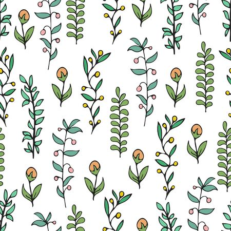 Colorful floral seamless pattern, doodle cartoon drawn flowers, exotic natural background, hand drawing. Multi-colored plant branches, buds, petals and leaves on white backdrop. Vector illustration