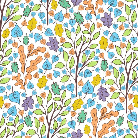 Tree foliage, branches and leaves seamless pattern, doodle cartoon drawn exotic natural background, hand drawing. Multi-colored autumn, spring and summer leaf on white background. Vector illustration