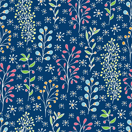 Colorful floral seamless pattern, doodle cartoon flowers, natural background, hand drawing. Multi-colored bright plant branches, bud, petal and leaves and ladybug on blue backdrop. Vector illustration