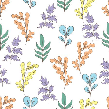 Tree foliage, branches shrubs, branches and leaves seamless pattern, doodle cartoon drawn exotic natural background, hand drawing. Multi-colored plants on white background. Vector illustration 矢量图像