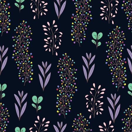 Colorful floral seamless pattern, doodle cartoon drawn flowers, exotic natural background, hand drawing. Multi-colored plant branches, buds and leaves on dark backdrop. Vector illustration