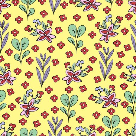 Colorful floral seamless pattern, doodle cartoon drawn flowers, exotic natural background, hand drawing. Multi-colored plant branches, buds, petals and leaves on yellow backdrop. Vector illustration