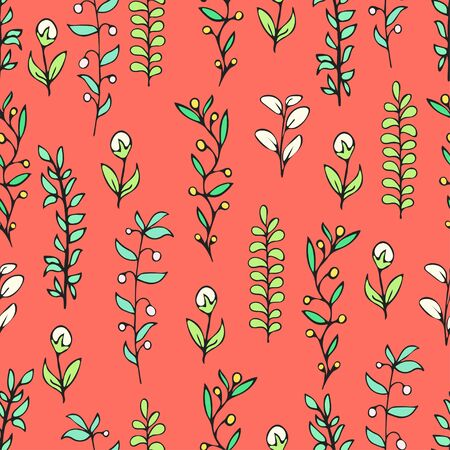 Colorful floral seamless pattern, doodle cartoon drawn flowers, exotic natural background, hand drawing. Multi-colored plant branches, buds, petals and leaves on red backdrop. Vector illustration Иллюстрация
