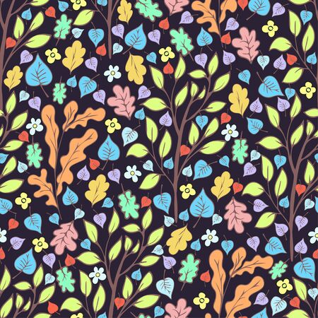 Tree foliage and flowers, branches and leaves seamless pattern, doodle cartoon natural background, hand drawing. Multi-colored autumn, spring and summer leaf on dark background. Vector illustration Иллюстрация